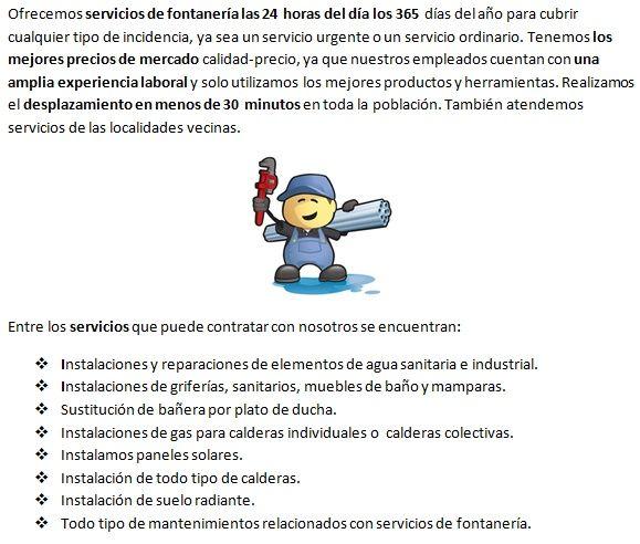 Servicios de fontanería de fontaneros Villaviciosa 365 días profesionales